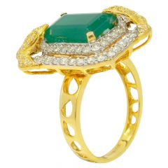 Emerald Cut Precious Stone Leafy Diamond Cocktail Ring - R8386