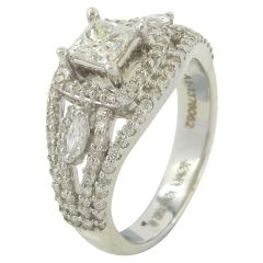 Princess And Marquise With Round Brilliant Diamond Ring - RA1078
