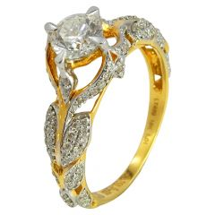 Single Solitaire With Micropave Leafy Diamond Ring - ra1564
