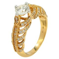 Single Solitaire Queen Diamond Ring - ra1568