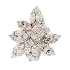 Dazzling Princess Marquise Baguette With Round Brilliant Cocktail Diamond Rhodium Ring - RD30