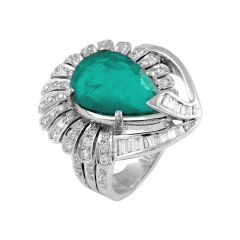 Elegant Feather Drop Synthetic Emerald With  Round Brilliant And Baguette Cut Diamond Rhodium Ring - RD48