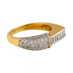 Sparkling Channel With Micropave Set Round Brilliant And Baguette Cut Diamond Ring - RD51