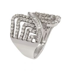 Cluster Round Brilliant And Baguette Cut  Wave Diamond Rhodium Ring - RD67
