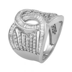 Sparkling Knot Channel Prong Set  Round Brilliant With Baguette Cut Diamond Rhodium Ring - RD74