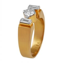 Sparkling Round Brilliant And Baguette Cut  Prong Set Diamond Mens Ring - RD78