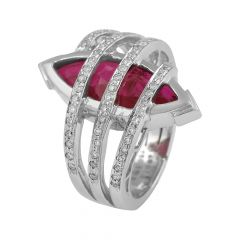 Glittering Marquise Cut Synthetic Ruby Spiral Diamond Rhodium Ring - RD80
