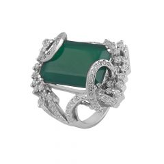 Cluster Sparkling Diamond With Synthetic Emerald Rhodium Ring - RD83