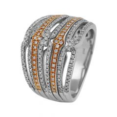 Elegant Glittering Layer Cocktail Diamond Rhodium Ring - RD89