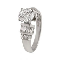 Sparkling  Round Brilliant Solitaire With Channel Set Baguette Cut Rhodium Diamond Ring - RD8
