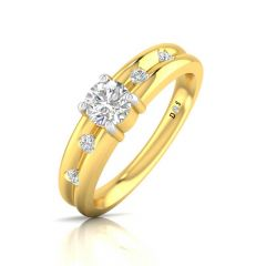 Groveed Design Flush Prong Set Diamond With Solitaire Ring