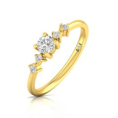 Elegant Glossy Finish Prong Set Solitaire With Side Diamond Ring