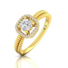 Sqaure Spiral Design Four Prong Set Solitaire With Side Diamond Ring