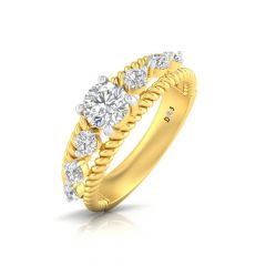 Sparkling Glossy Finish Prong Set Spiral Design Solitaire With Side Diamond Ring