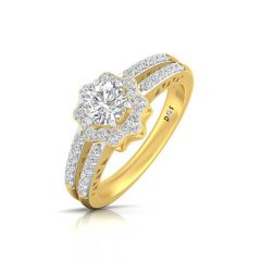 Glittering Floral Crown Design Prong Set Solitaire With Side Diamond Ring