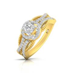 Halo Curved Spiral Desgin Prong Set Solitaire With Side Diamond Ring
