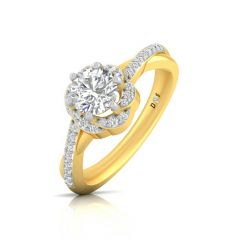 Twisted Floral Design Pron Set Solitaire With Side Diamond Ring