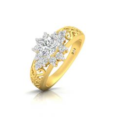Sparkling Filigree Floral Design Prong Set Solitaire With Side Diamond Band Ring