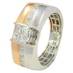 Invisible Set Two Tone Diamond Ring - rg01260