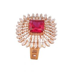 Glossy Finish Synthetic Ruby With Cluster CZ Rose Gold Ring-RG1303632