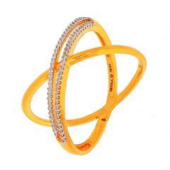 Glossy Sparkling Pave Set Cluster CZ Crisscross Gold Ring-RG18-105