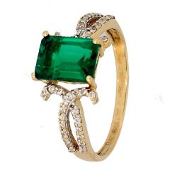 Glossy Finish Crown Set Synthetic Emerald With CZ Studded Gold Ring-RG18-106