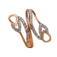 Satin Finish Twisted Leafy Design With CZ Studded Rose Gold Ring-RG18-120