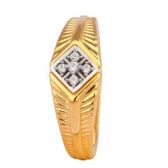 Glossy Finish Diamond Cut With CZ Studded Gold Ring-RG18-125