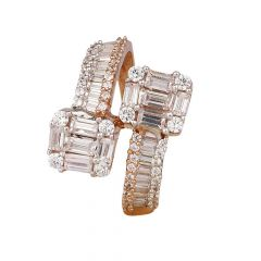 Gilittering Twisted Baguette Round Brilliant Cut CZ Studded Rose Gold Ring-RG18-62