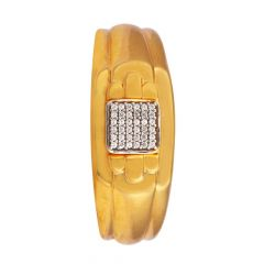 Satin Glossy Finish With CZ Mens Gold Ring-RG18-92