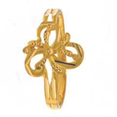 Glossy Diamond Cut Floral Gold Ring -RG22-100