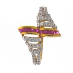 Glossy Sparkling CZ With Synthetic Ruby Twisted Gold Ring-RG22-153