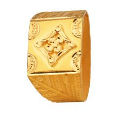 Glossy Finish Diamond Cut Embossed Design Gold Ring-RG22-371