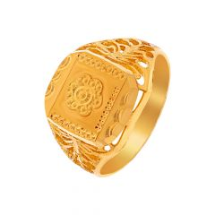 Traditional Cutout Embossed Floral Gold Ring