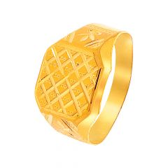 Gold Textured Gold Ring For Him