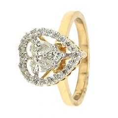 Sparkling Pave Prong Set Pear Cut Dual Heart Design Diamond Ring