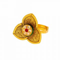 Glossy Antique Finish Leafy Design With Synthetic Kundan Studded Gold Ring