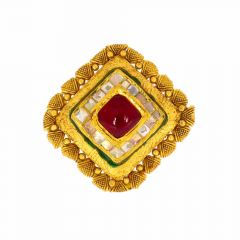 Glossy Antique Finish Textured Diamond Cut Design With Synthetic Kundan Studded Gold Ring