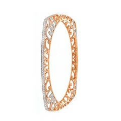 Glossy Finish Filligree Design Rose Gold Bangles