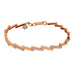 Glossy Matte Finish Overlapping Steps Design With Studded CZ Rose Gold Bracelet