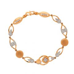Glossy Finish Oval Ball Link Design With Studded CZ Rose Gold Bracelet