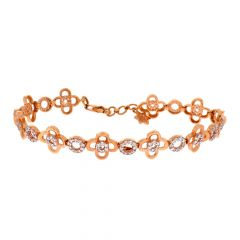 Glossy Finish Floral Link Design With Studded CZ Rose Gold Bracelet