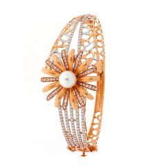 Glossy Finish Rhodium Polish Synthetic Pearl Floral Design With Studded CZ Rose Gold Openable Bracelet