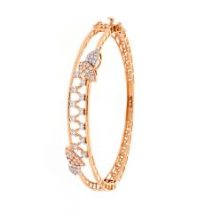 Glossy Finish Filigree Design CZ Studded Openable Gold Bangle Bracelets