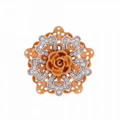 Matte Finish Rhodium Polish Floral Design Studded With CZ Rose Gold Ring