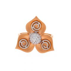Matte Finish Rhodium Polish Spiral Leafy Design With CZ Studded Rose Gold Ring