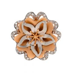Glossy Finish Rhodium Polish Blossom Floral Design With Studded CZ Rose Gold Ring