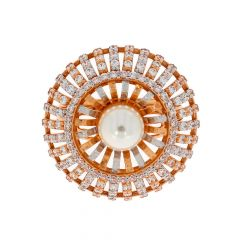 Glossy Finish Rhodium Polish Synthetic Pearl Floral Spike Design With Studded CZ Rose Gold Ring