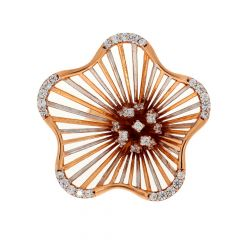 Glossy Finish Rhodium Polish Blossom Floral Spike Design With Studded CZ Rose Gold Ring
