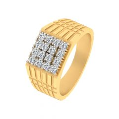 Sparkling Grooved Design Yellow Gold Diamond Ring